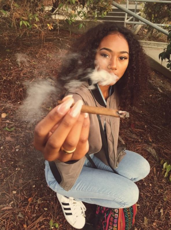 blasian girl smoking weed