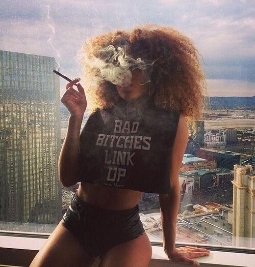 beautiful girl smoking marijuana