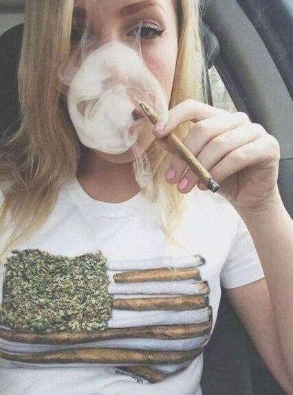 blonde girl smoking blunt
