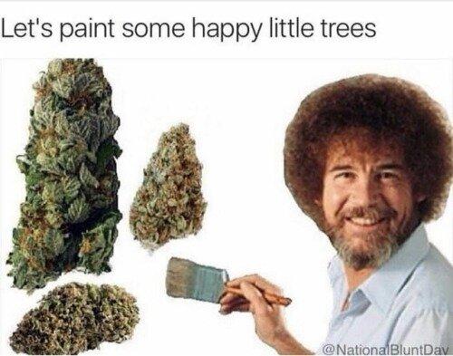 bob ross weed meme