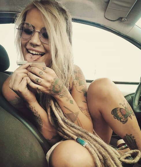 cute girl licking joint