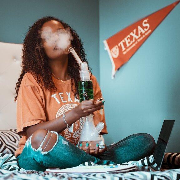 girl smoking bong