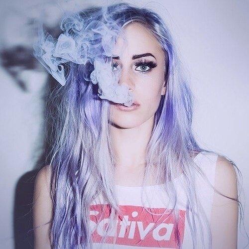 girl with purple hair smoking weed