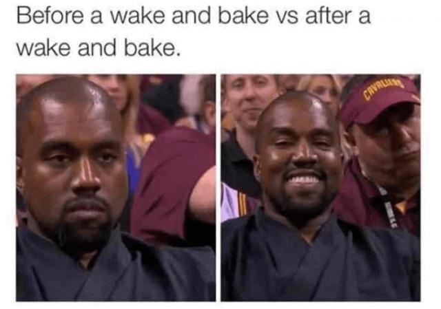 kanye west wake and bake weed meme