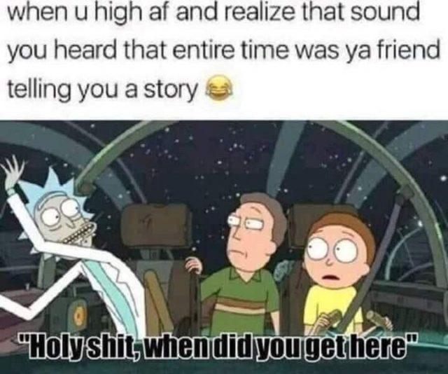 rick and morty high af weed meme