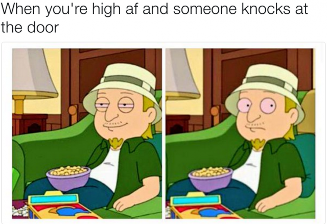 when someone knocks at the door weed meme